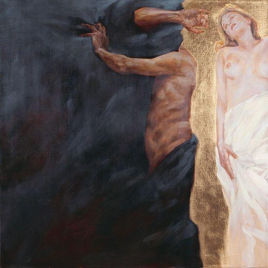 Sinun oli aina niin helppo erehtyä. TAMMI, PASI Einari.1998. 80 x 80 cm. Öljy ja lehtimetalli kankaalle.