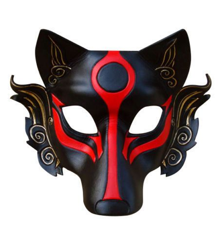 leather japanese samurai wolf head cosplay mask masque halloween party cool unbranded