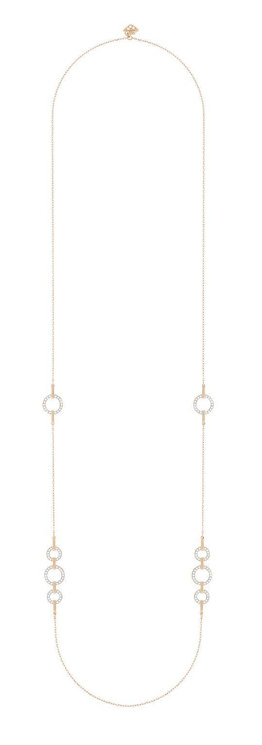 Swarovski Ketting 'Circle Strandage' White-Rosegold 5364202. Sprankel deze zomer en daarna met deze tijdloze, bijzonder vormgegeven collier. De ketting heeft een lengte van 85 cm en is super draagbaar bij elke outfit of gelegenheid. Het collier bestaat uit rosékleurige, gerhodineerde schakels, 4 x onderbroken door cirkels met Swarovski kristallen.