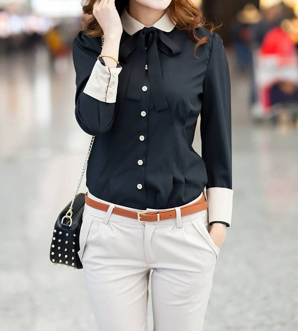 Single-breasted Stitching Cuffs Cotton Color Matching Formal Blouse For Women(With Random Bow-tie) (BLACK,S) | Sammydress.com