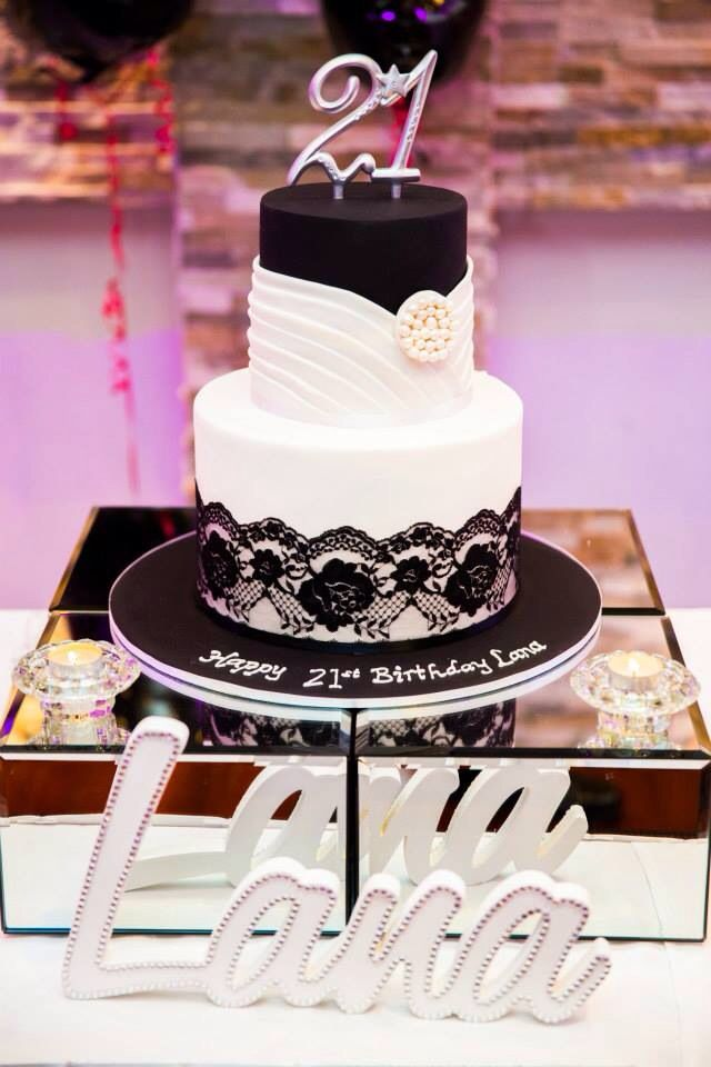 Black And White 21st Birthday Cake Sweets By Rosaline