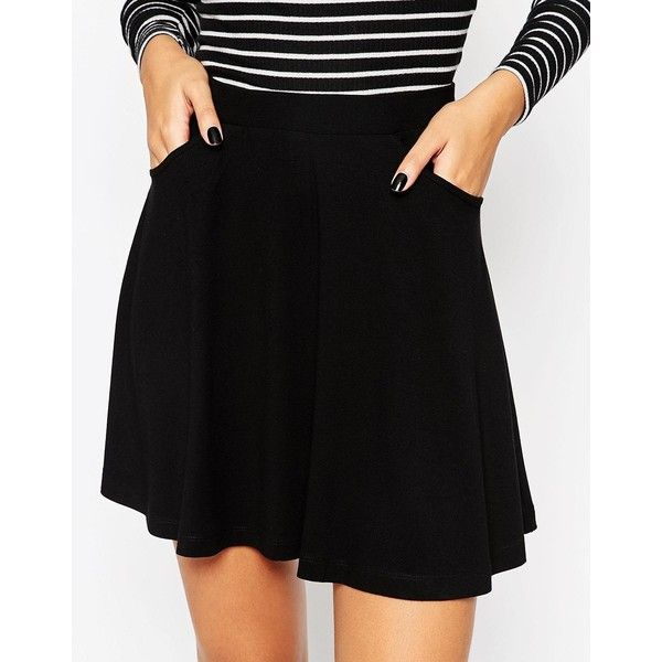 ASOS PETITE Skater Skirt with Pockets ($18) ❤ liked on Polyvore featuring skirts, mini skirts, mini skater skirt, high-waisted skirts, high waisted circle skirt, high waisted mini skirt and mini skirt
