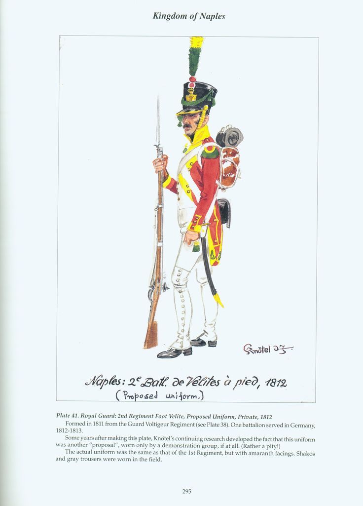 Kingdom of Naples: Plate 41. Royal Guard: 2nd Regiment Foot Velites, Proposed Uniform, Private, 1812.