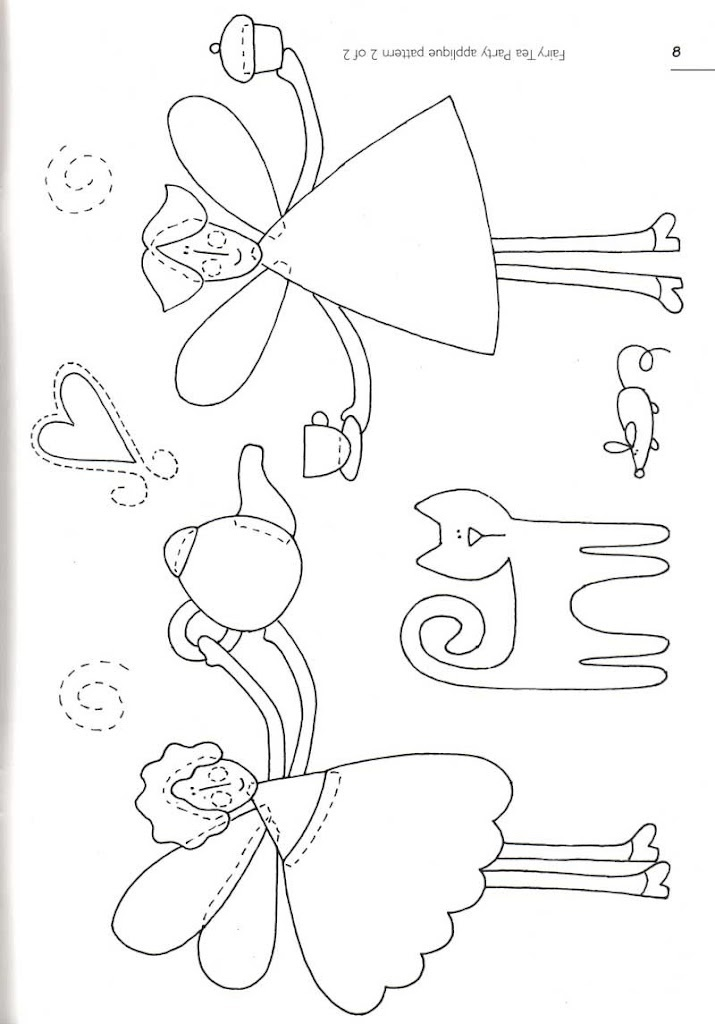Fairy Tea Party applique pattern #2  Could also use for redwork.