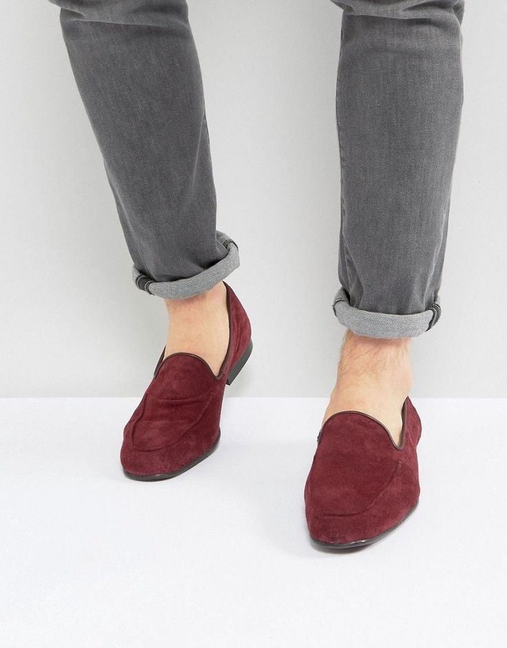 ASOS Loafers In Burgundy Suede - Red