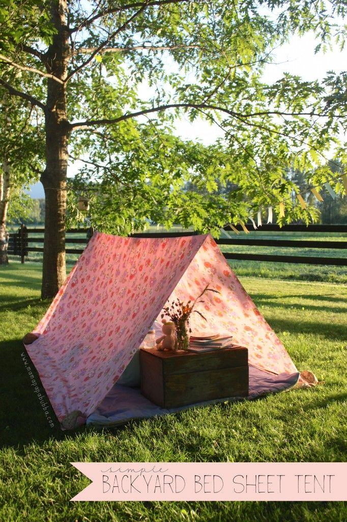 Simple Backyard Bed Sheet Tent   Mama.Papa.Bubba.