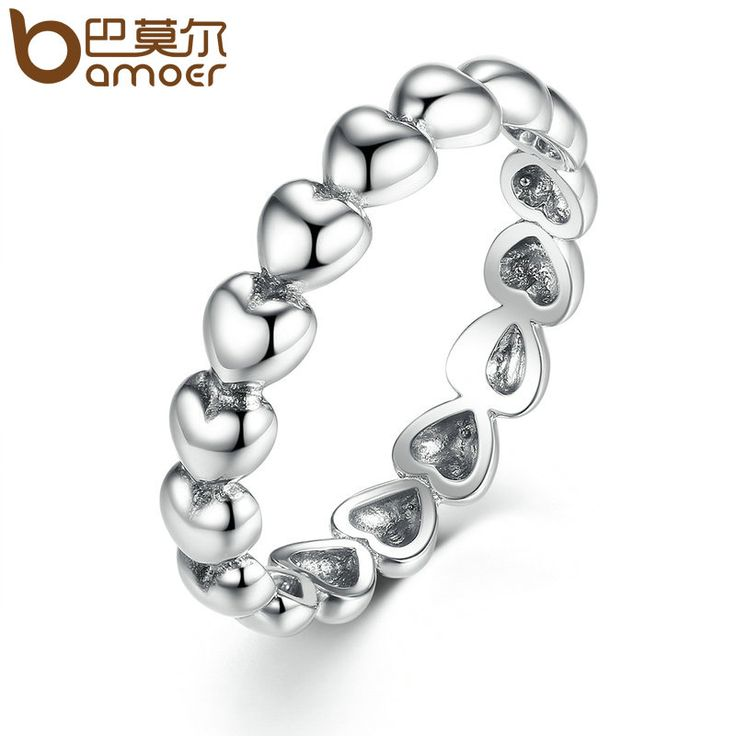 BAMOER Silver Plated 4mm Heart to Heart Smooth Surface Cheap Rings Women Wedding Jewelry 3 Size Wholesale PA7219