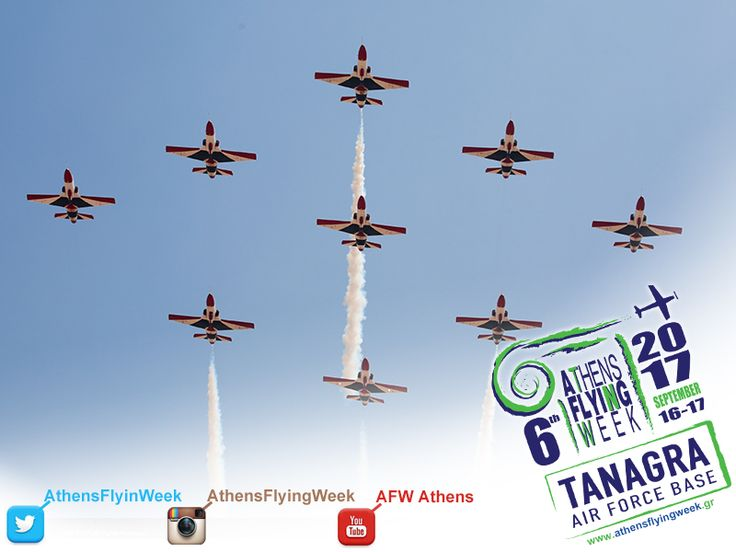 """Athens Flying Week proudly presents, for the first time in Continental Europe, the """"Silver Stars"""" Demo Team of the Egyptian Air Force. In a rare and totally synchronized demonstration, the nine (9) K-8E Karakorum aircraft will shine as Silver Stars in the sky of the Tanagra Air Base."""