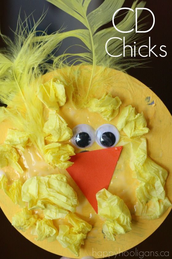 Adorable CD Chicks for preschoolers to make.  Great way to use your scratched CDs and DVDs - Happy Hooligans