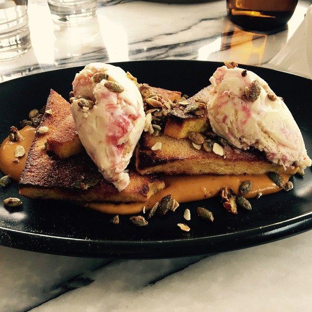 Pumpkin brioche French toast with rhubarb ice cream #erskinevilla #erskineville #newhome