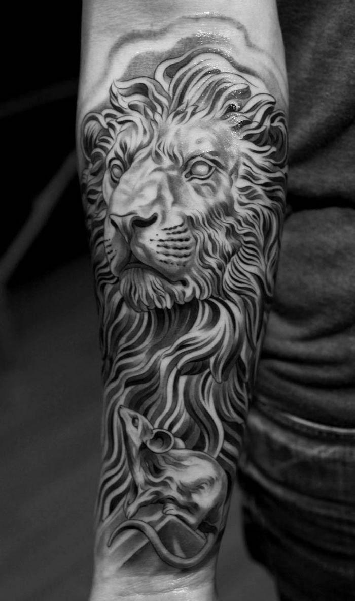 Künstlerisch Tattoo Männer Unterarm Sammlung Von Großes Schwarz-graues Löwe Am Unterarm, Löwe Mit
