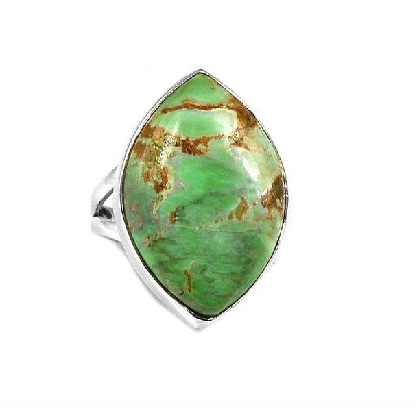 Australian Varisicite Genuine Gemstone 925 Sterling Silver Oblong-Shaped Green Statement Ring Jewellery S.7 !! by Ameogem on Etsy