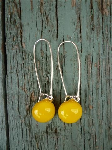 Taxi Yellow Sterling Silver Fused Glass Long Danglies Earrings