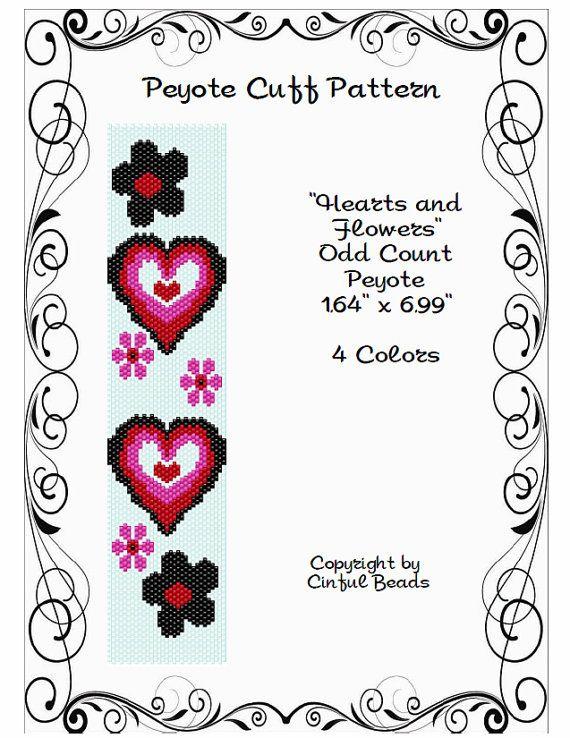 Peyote Браслет шаблон, Сердца и цветы с использованием Миюки 11/0 Delica бусины