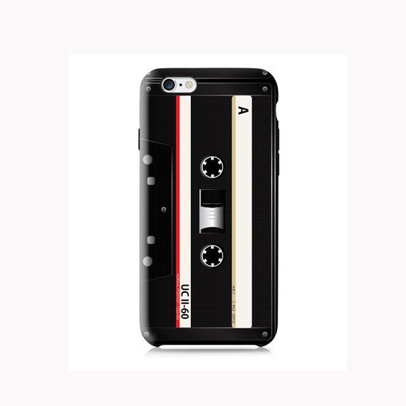 Black retro cassette tape is available for iPhone 4/4S, iPhone 5/5s, iPhone 5c and new iPhone 6. The picture shows the design on an iPhone 6 case