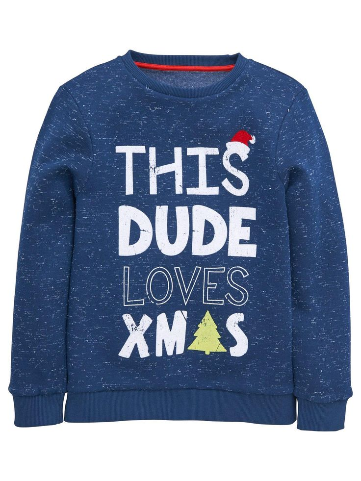 V by Very Boys Dude Xmas Textured Sweat Top For the boy who's crazy for Chrimbo, this festive textured sweat top from V by Very will spread his merry excitement wherever he goes. The navy sweater boasts a bold slogan in snowy white that exclaims 'This Dude Loves Xmas' with a Santa hat and Christmas tree print adding jovial character. Styling Ideas Make sure he wears this sweat top at every opportunity to really pass on the seasonal spirit, from casual occasions in jeans to family...