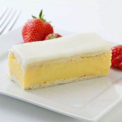 Vanilla Custard Slice - My absolute favourite! There is just no ladylike way of eating one of these, just bite in and catch the filling, oozing out of the sides, before it drops!! One is not enough!