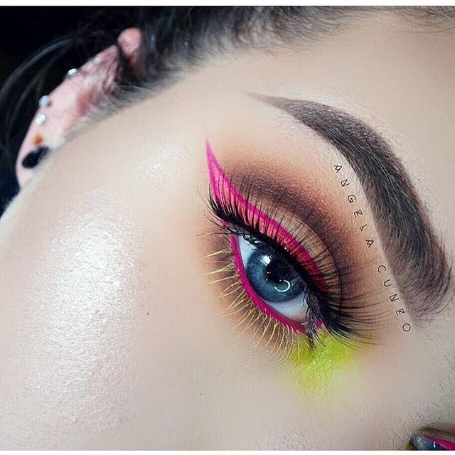 Neon Pink Eyeliner and Lime Green Eyeshadow