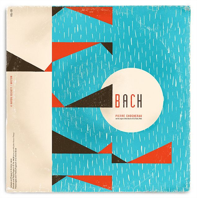 fictitious vintage Bach record cover, by Javier Garcia Design