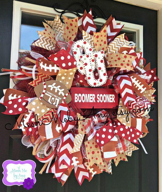 Oklahoma Sooners deco mesh wreath Boomer Sooner by MeshMebyAng