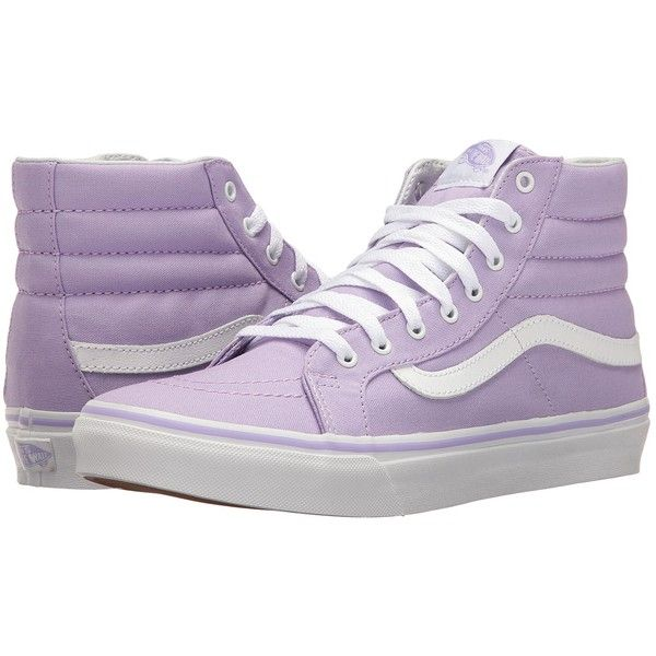 Vans SK8-Hi Slim (Lavender/True White) Skate Shoes ($60) ❤ liked on Polyvore featuring shoes, sneakers, white skate shoes, skate shoes, leather sneakers, leather high tops and white leather sneakers