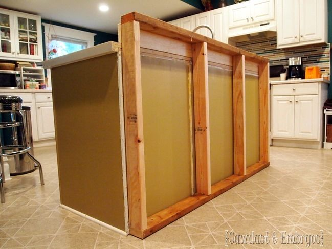 Framing in a wall to add a breakfast bar to existing kitchen island {Sawdust and Embryos}
