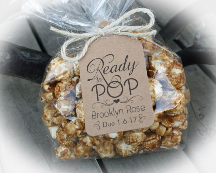 Ready to Pop Baby Shower Favor Kits-3 TAG COLORS | Popcorn favor-25-100 DIY Bags/Favor Tags w/Ribbon or twine | Baby shower Favors-Bag szLge by MerryMeDesign on Etsy https://www.etsy.com/listing/492679653/ready-to-pop-baby-shower-favor-kits-3