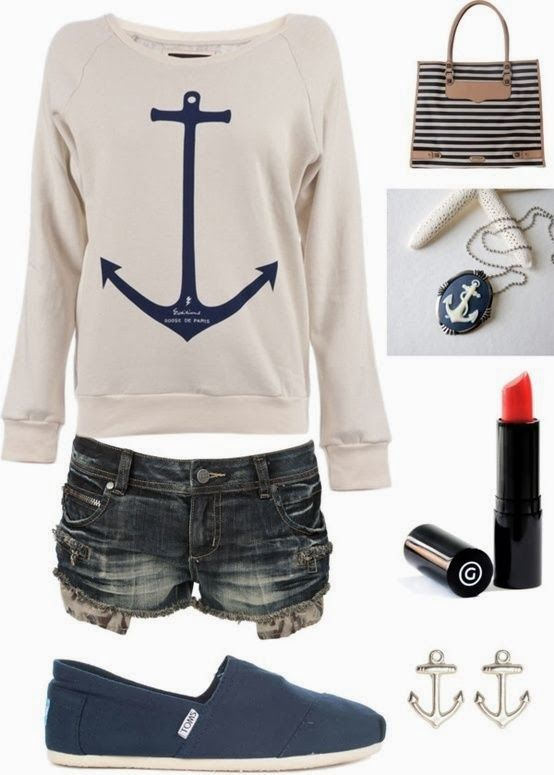 Amazing anchor sign sweater, shorts  and cosmetics for summer. If only the shorts were a little longer