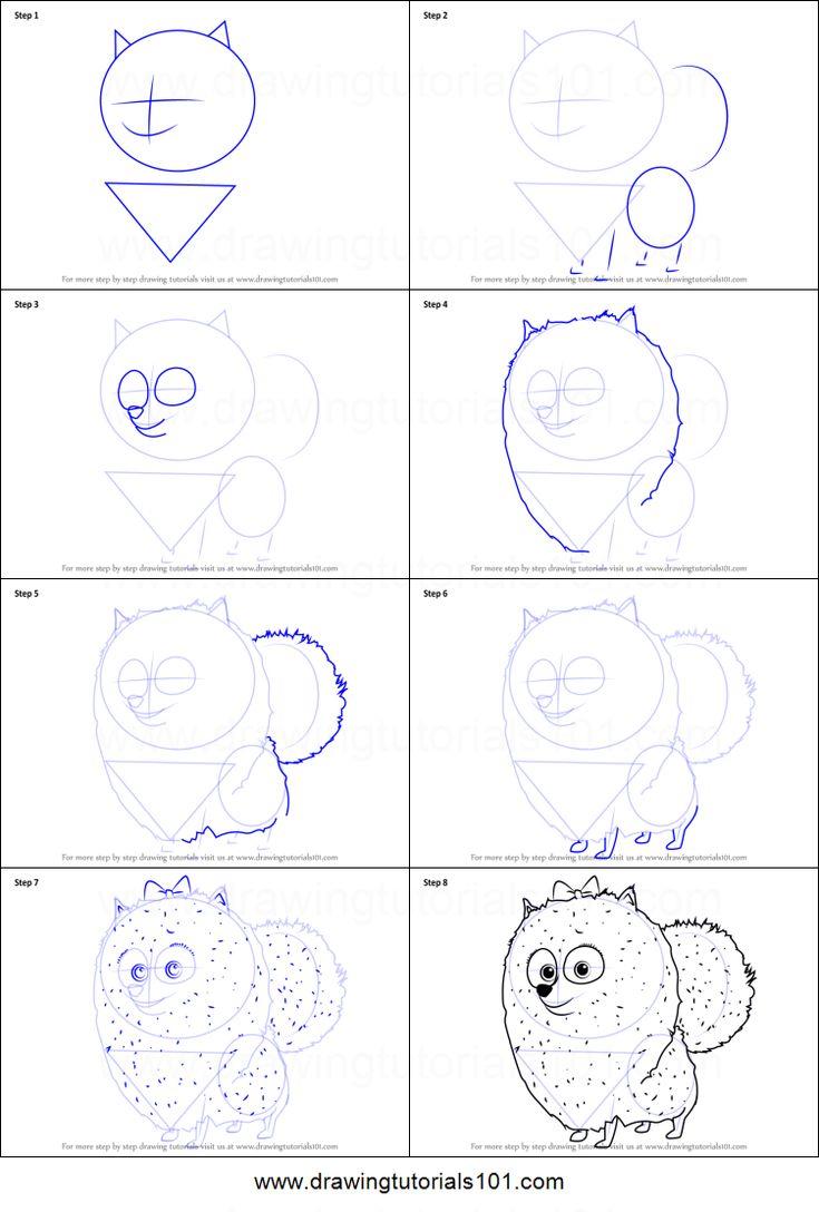 Wie Gidget aus dem geheimen Leben der Haustiere zu zeichnen druckbare Schritt für Schritt Zeichnung s …   – Drawing