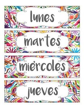 For your Spanish classroom - Display the days of the week in Spanish with this fun and colorful Mexican Otomi theme! A blank template is also included! These are great to use in pocket charts or on your board! Print each page, laminate them, and display anywhere in your Spanish classroom to add a fun, vibrant, and cultural touch!