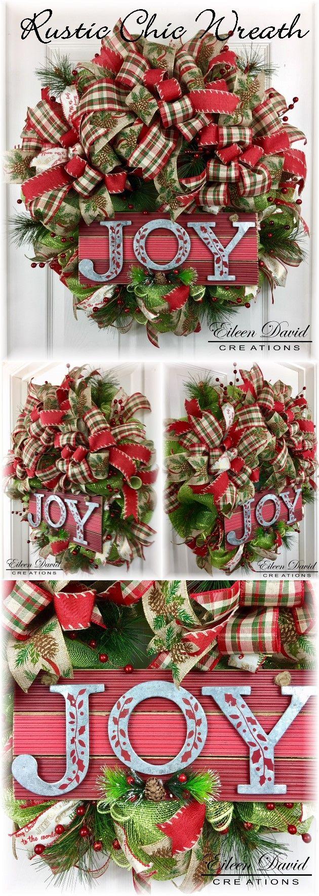 Wreath, Christmas Wreath, Joy, Holiday Decoration, Rustic, Rustic Chic, Door Decor,