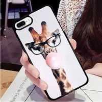 The Giraffe Blowing Bubbles Case Rubber For Samsung Galaxy S4 S5 S6 S7,Samsung Galaxy NOTE 3 4 5 7,IPhone 7/7plus,IPhone 5/5s/5c,iPhone 6/6s Plus Phone Case