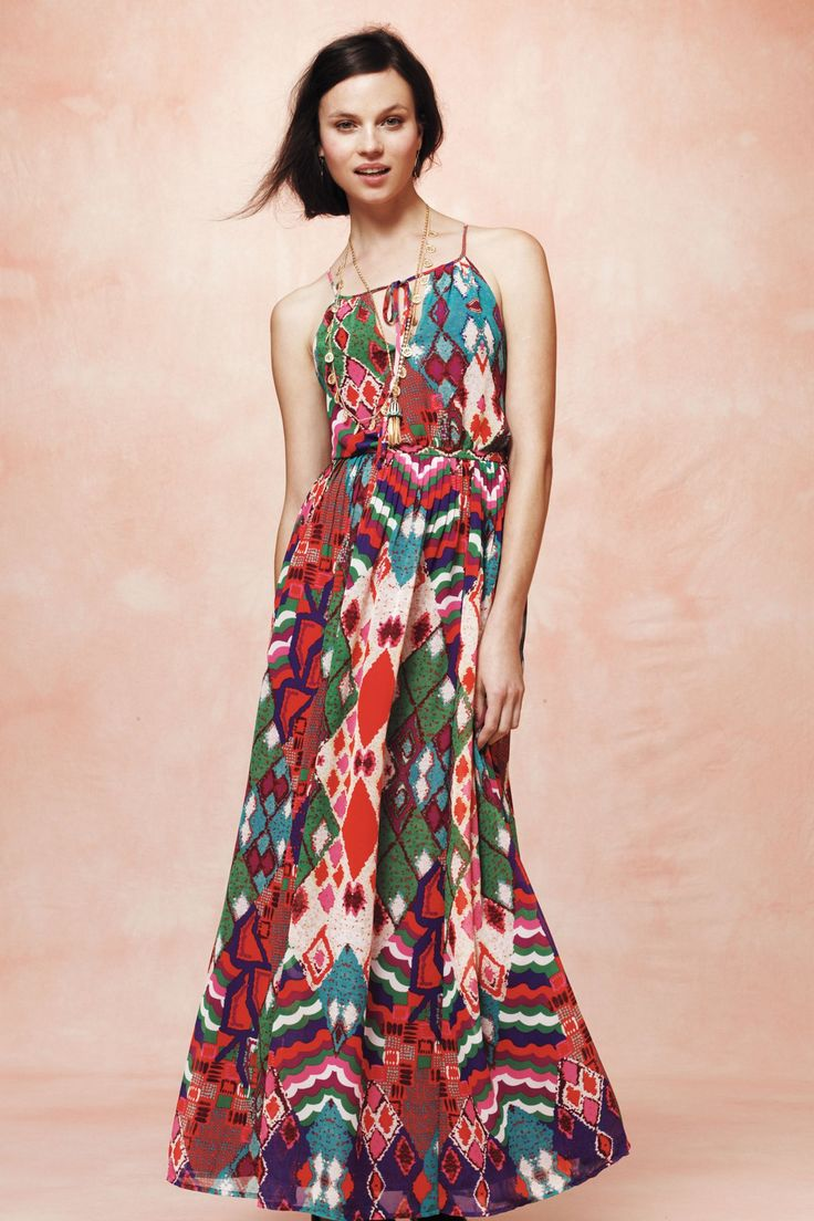 Colorful, printed maxi dress - depending on the fabric, I think this could easily be dressed up or down
