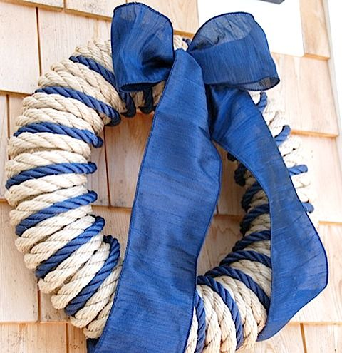 Nautical navy blue rope wreath with ribbon and other wreaths from Ocean Offerings: http://www.oceanofferings.com/wreaths.html