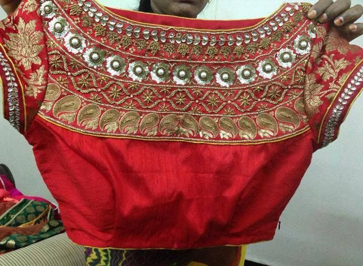 high neck designer embroidery work blouse