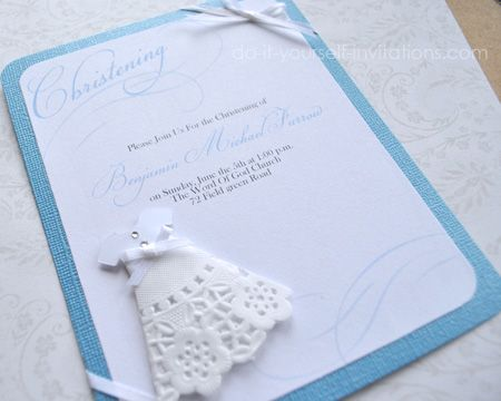 Homemade Christening Invitations with DIY Doily Gowns