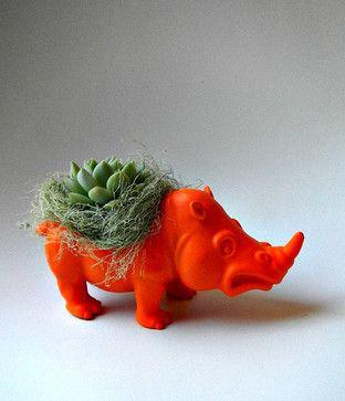 Neon Orange Rhinoceros Planter Mini Modern Art by Coastal Moss - eclectic - indoor pots and planters - Etsy