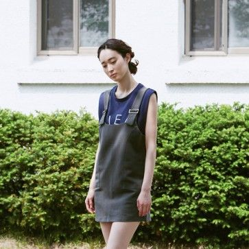 [Cloudy Overall Dress] An #overalls #dress featuring adjustable buckled shoulder straps. Square neckline. #cute #cutefashion #cutestyle #koreandress #asiandress #fashiontoany