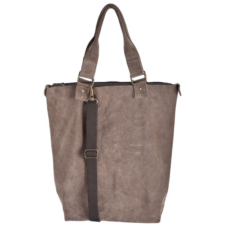 Shopper bag made of genuine leather with handles and removable shoulder strap. There is an inner pocket door for iPad's, SmartPhone, with closing zipper. 100% made in Italy, handmade By Land and Sea