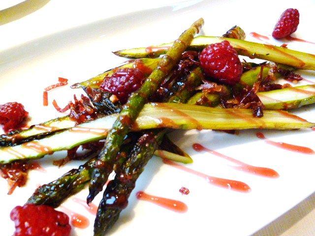 asperges vertes roties jambon bellota et fambroise