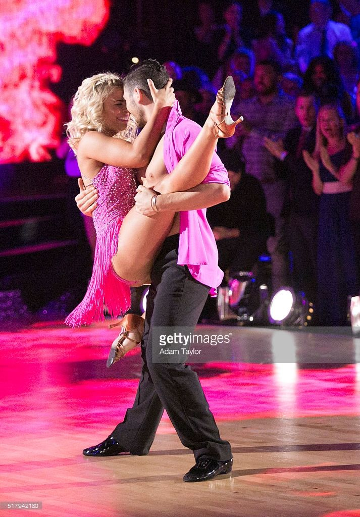 "March 28, 2016: Paige VanZant and Alan Bersten (substituting for the injured Mark Ballas) salsa to ""Danza Kuduro"" by Don Omar featuring Lucenzo on 'Dancing with the Stars'."