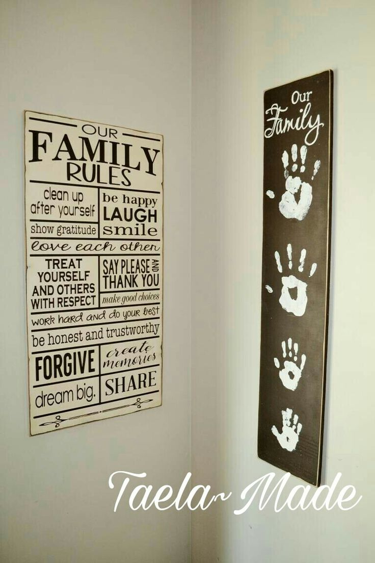 """My family """"rules"""" wall  Hand prints timber sign DIY craft for the home  Taela-Made"""