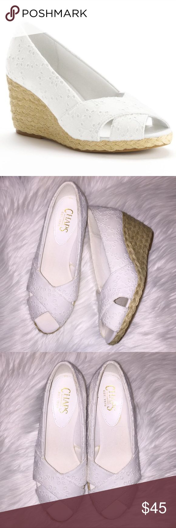 Chaps Dakota Espadrille white lace wedges Like new no imperfections. Size 6. My feet are too wide for these. So cute and hate they don't fit. Perfect for this season!!!!! My loss your gain offers and trades welcome. 💋💋💋💋I do flash sales on all my items a lot but I bring price back up. For example if one day sale next day it will go back to original price or wknd sale on Monday it will go back up ect. When I say I drop them I mean I DROP THE PRICE ❤️❤️❤️❤️ Chaps Shoes Wedges