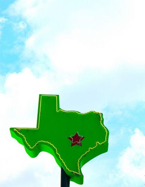 austin : texas : burnet road: daytime neon: big texas sky