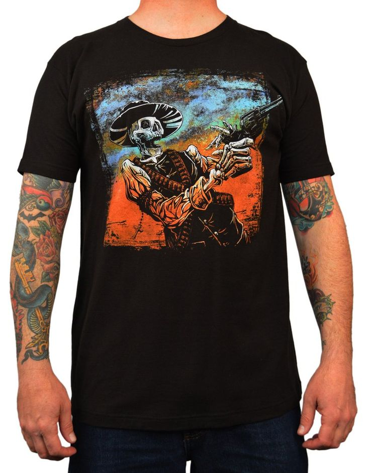 Men's The Reckoning David Lozeau Outlaw Skeleton Cowboy Tattoo T Shirt – moodswingsonthenet