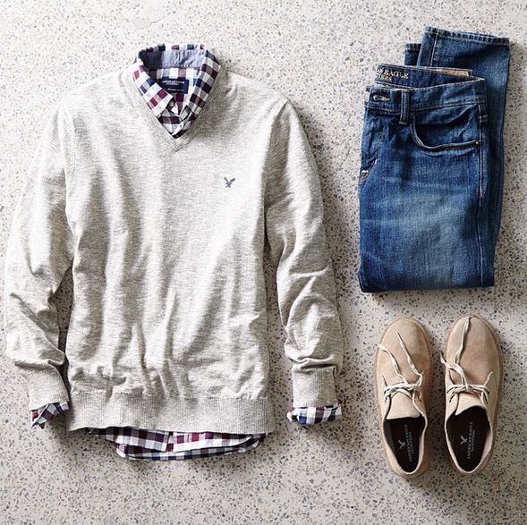 check shirt | fashion inspiration | mens | knit | denim | ニット重ね着 | メンズファッション: