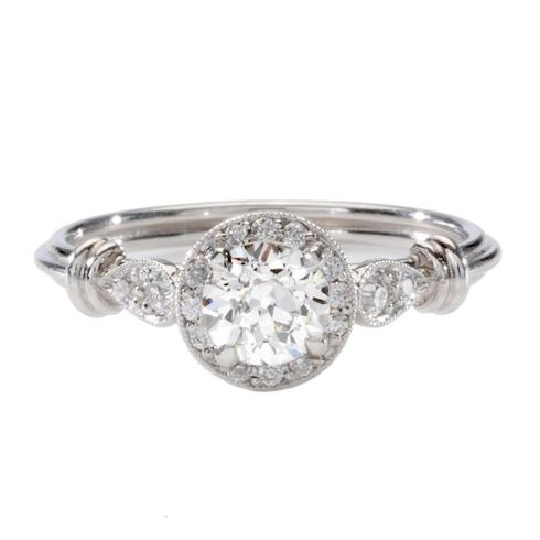 This inspiring ring features enchanting antique-inspired details with an authentic vintage Old European cut diamond.  Single Stone at Greenwich Jewelers, $5390