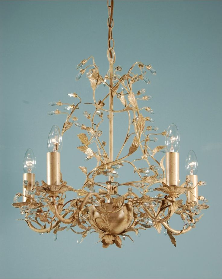 Chandeliers, Adele Five Branch traditional Antique Cream Gold Leaf Chandelier Light