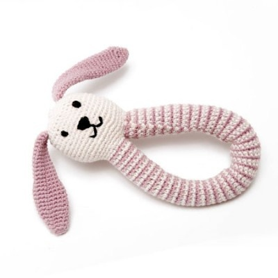 Fair Trade Organic Bunny Rattle in Pink £11.95 #podpastels
