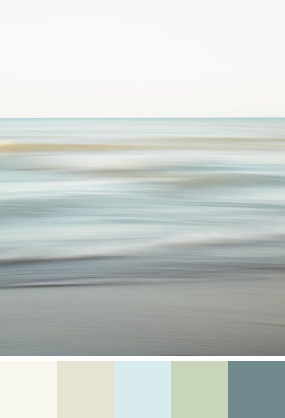 Benjamin Moore Colour Trends 2016 - Colour Palette – Simply White, Ballet White, Morning Sky Blue, Kittery Point Green, and Blue Echo - Shown with minimalist beach photograph Spring Shore by Jennifer Squires